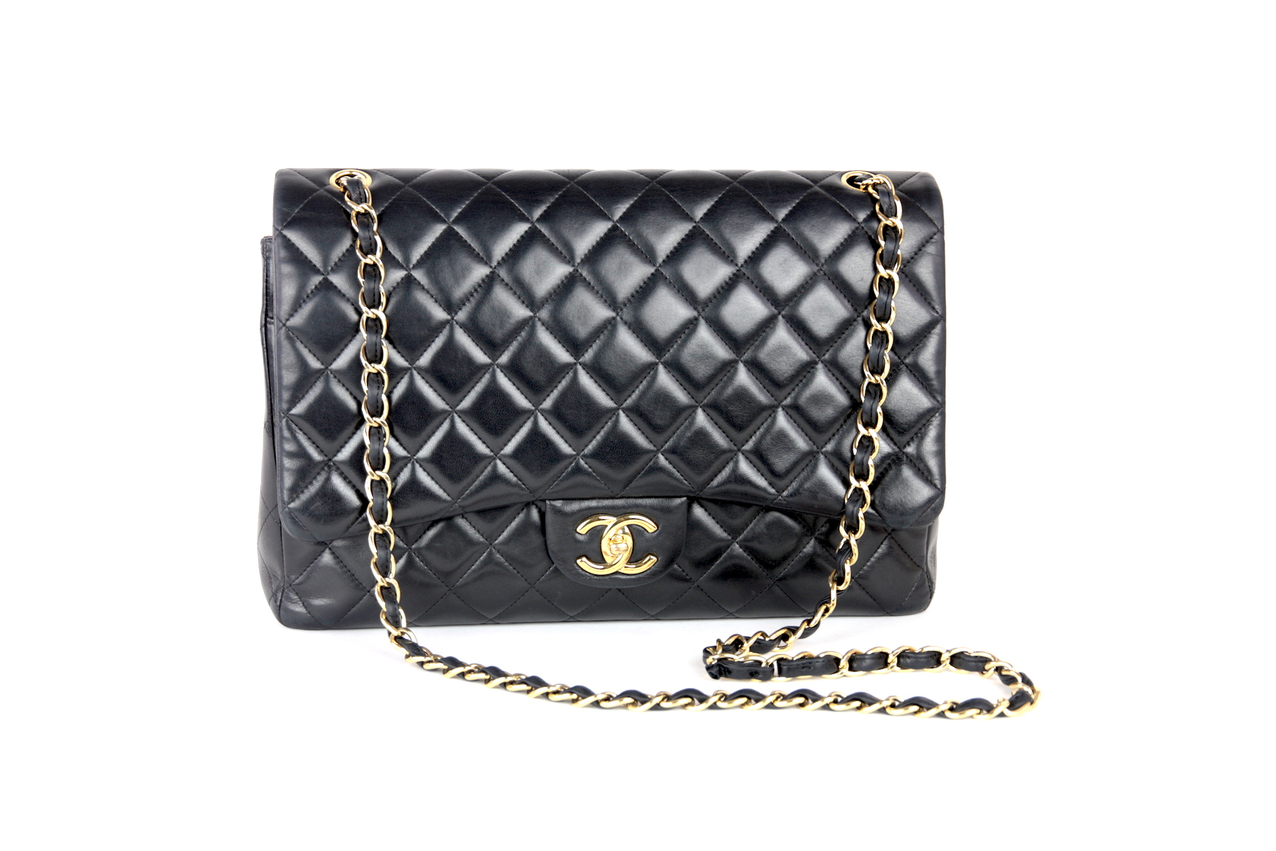 19ef8bc5cec06f Chanel Classic Lambskin Double Flap Maxi Jumbo Gold Hardware Bag ...