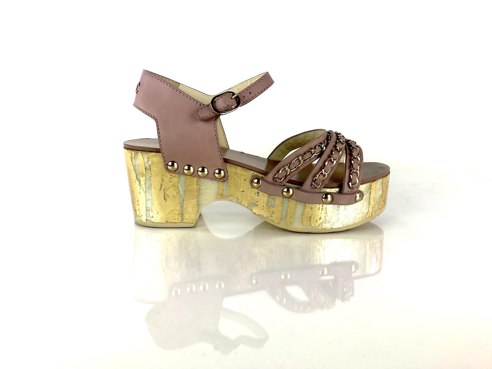 Chanel Chain Link Platform Sandals 38 Fashion Reloved