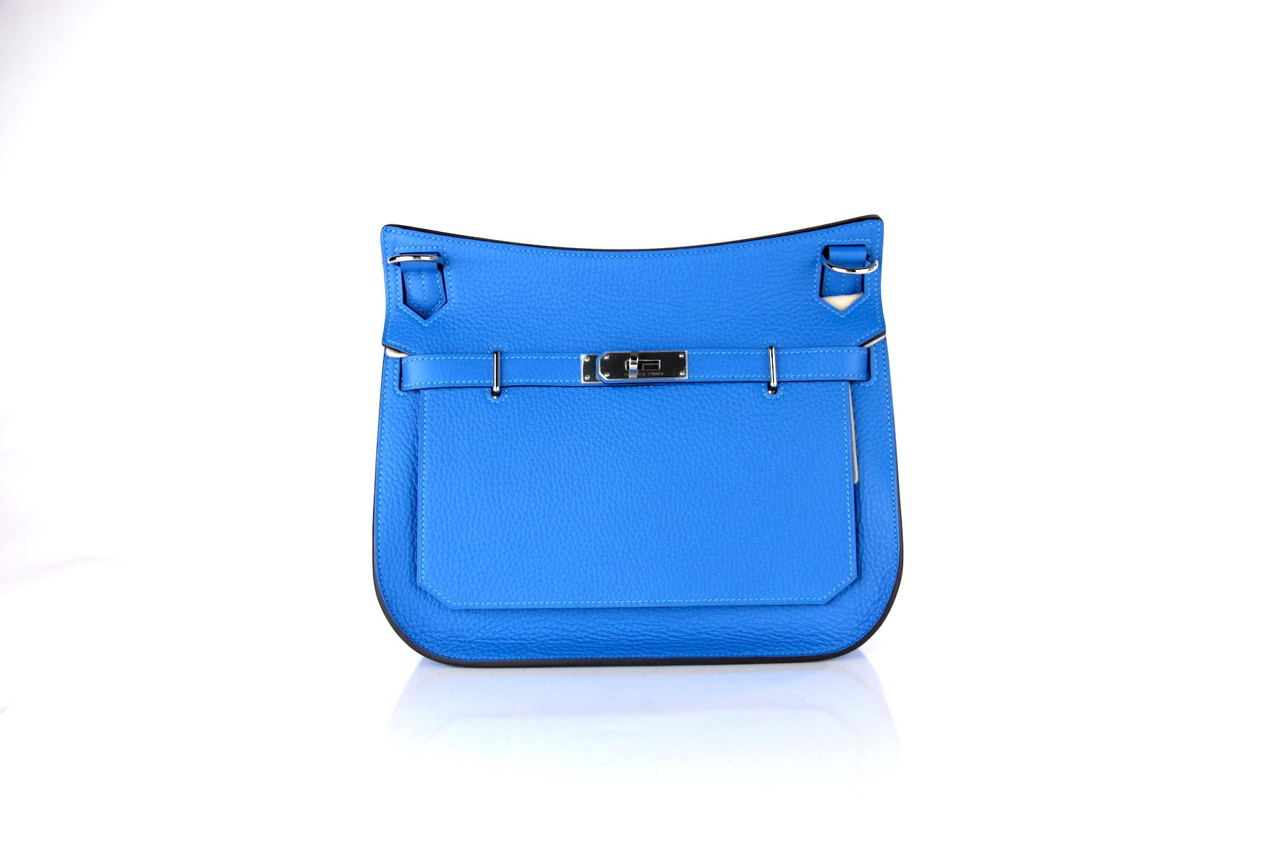 Hermes Bleu Hydra Jypsiere 28cm Clemence Bag