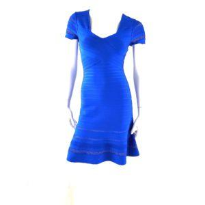 NWT Herve Leger Viviana Blue Cut Out A Line Dress S